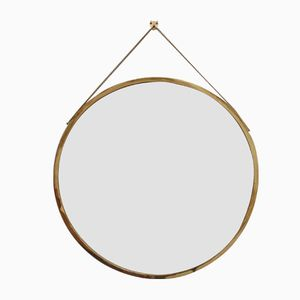 Mid-Century Italian Wall Mirror with Brass Frame