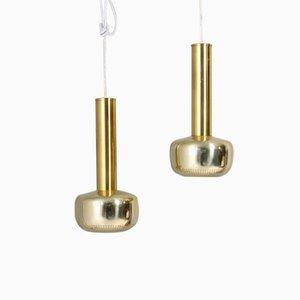 Mid-Century Danish Brass Pendant Lights by Vilhelm Lauritzen for Louis Poulsen, 1960s, Set of 2