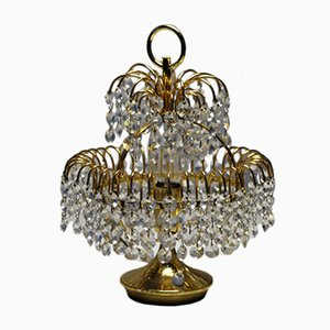 Austrian Gilded Crystal Table Lamp, 1970s