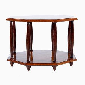 Art Deco Italian octagonal bird eyes maple sofa coffee table or side table.