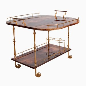 Mid-Century Italian Lacquered Goatskin Trolley by Aldo Tura, 1970s