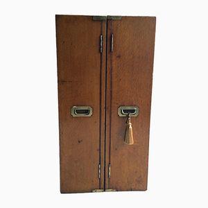 Antique Oak Campaign Bookcase Chest