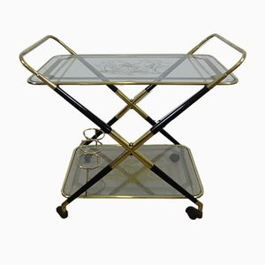 Mid-Century Italian Brass and Glass Service Trolley, 1950s