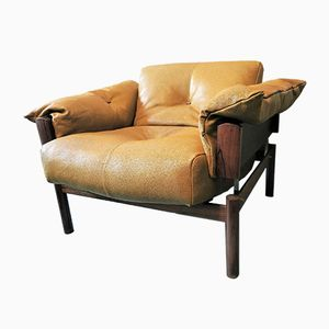 Brazilian Rosewood & Leather Lounge Chair by Percival Lafer, 1970s