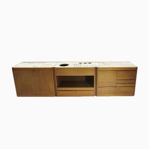 4D Walnut and Marble Sideboard by Angelo Mangiarotti for Casaluci, 1960s