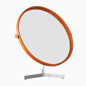 Mid-Century Swedish Teak Table Mirror by Uno & Östen Kristiansson for Luxus Vittsjö, 1960s