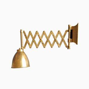Mid-Century Solid Brass Scissor Wall Lamp, 1960s