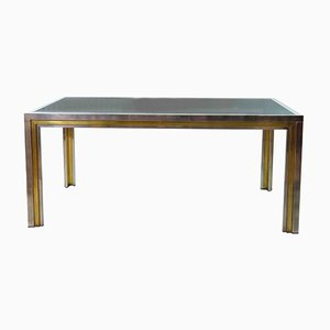 Vintage Steel and Brass Side Table, 1970s