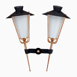 Mid-Century French Double Lantern Sconces from Arlus, 1950s