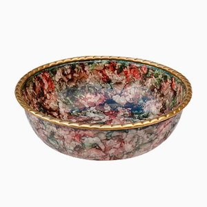 Mid-Century Italian Solid Brass Multicolored Enamel Bowl, 1970s