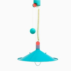 Blaue Vintage Deckenlampe, 1980er
