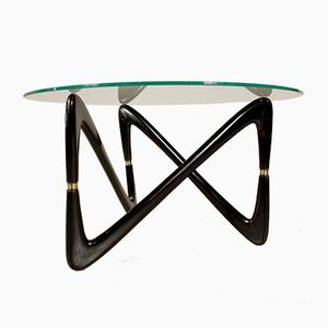 Coffee Table in Ebony Stained Wood, Brass, and Glass, 1950s