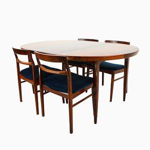 Ausziehbarer Teak Tisch & 4 Stühle von Henning Kjaernulf für Vejle Stolefabrik, 1960er