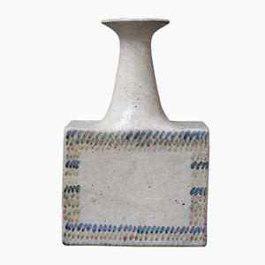 Vintage Ceramic Vase with Geometric Line Design by Bruno Gambone
