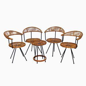 Vintage Rattan Chairs and Table Set by Dirk van Sliedregt for Rohé Noordwolde