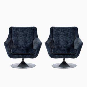 Mid-Century Italian Velvet Swivel Chairs, 1960s, Set of 2