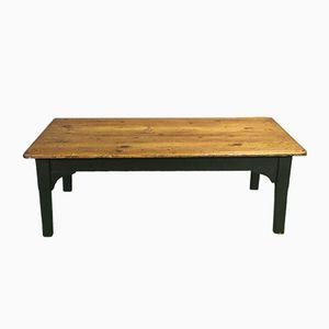 Table Basse Antique en Sapin avec Socle Noir Patiné