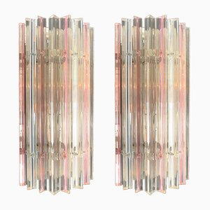 Vintage Pink & Clear Murano Glass Sconces, Set of 2