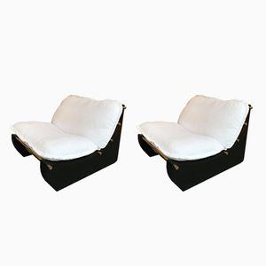 Italian Cantu Lounge Chairs in Wood & Brass from Salottificio, 1970s, Set of 2
