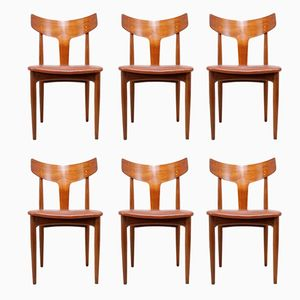 Mid-Century Dining Chairs in Teak & Leather, 1960s, Set of 6