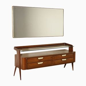 Buffet with Mirror in Mahogany Veneer, Glass & Onyx, 1950s