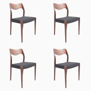 Mid-Century Danish Dining Chairs in Rosewood by N. O. Møller, Set of 4