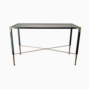 Metal and Smoked Glass Top Console Table, 1980s
