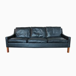 Danish 3-Seater Leather Sofa in Black, 1960s