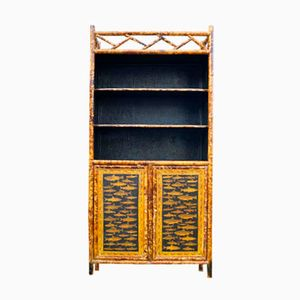 English Bamboo Cabinet with Bookshelf, 1880s