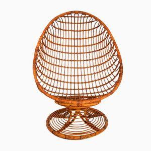 Italian Bamboo Lounge Chair by Tito Agnoli Pierantonio Bonacina, 1970s