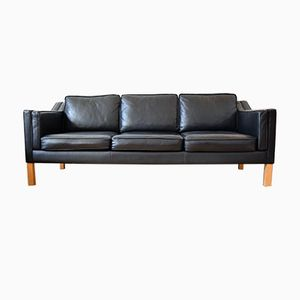 Black Leather 3-Seater Sofa by Børge Mogensen, 1960s
