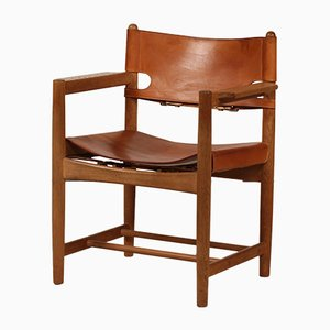 Danish Leather and Oak 3238 Chair by Børge Mogensen for Fredericia, 1970s