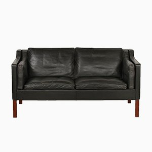 Danish 2212 Black Leather Sofa by Børge Mogensen for Fredericia, 1975