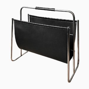 Large Magazine Rack by Carl Auböck in Black Leather & Nickel Plated Brass, 1950s