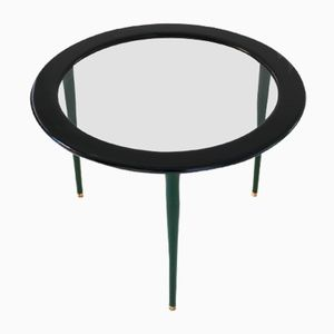 Italian Mid-Century Black & Green Coffee Table in Glass, Brass, and Wood, 1950s