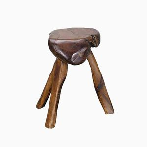 French Solid Olive Wood Stool, 1950s