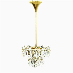 Crystal Glass & Gilded Chandelier, 1960s
