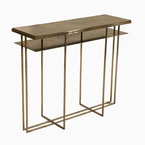Brass Cross Binate Console Table by Richy Almond for Novocastrian