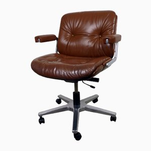 Leather Office Swivel Chair from Stoll Giroflex AG, 1970s