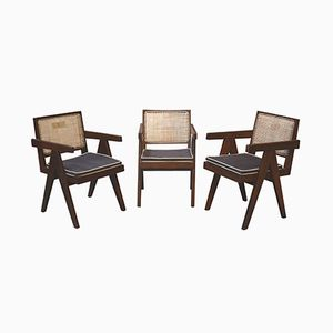 Mid-Century Office Chairs by Pierre Jeanneret, Set of 3