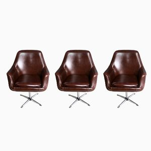 Mid-Century Brown Barber Chairs, 1960s, Set of 3