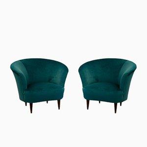 Italian Velvet Armchairs, 1940s, Set of 2