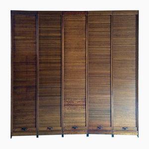 Mid-Century Oak Tambour Haberdashery Cabinet