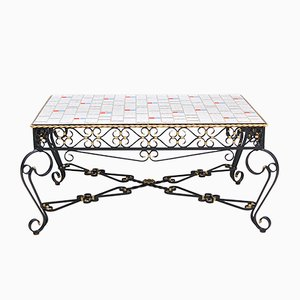 Wrought Metal & Ceramic Tile Coffee Table, 1971