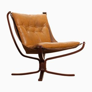 Falcon Lounge Chair in Camel Leather by Sigurd Ressell for Vatne, 1970s