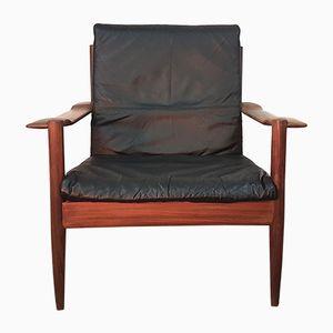 Mid-Century Danish Leather & Teak Lounge Chair