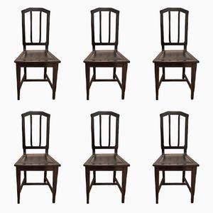 Vintage Art Nouveau Dining Chairs, Set of 6