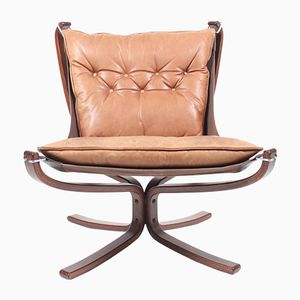 Leather Falcon Chair by Sigurd Resell for Vatne, 1970s
