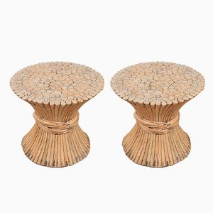 Vintage Wheat Sheaf Side Tables from Mcguire, Set of 2