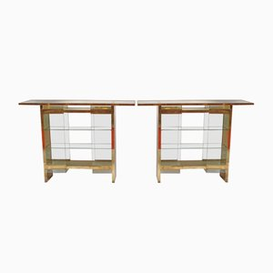 Mid-Century Brass and Glass Console Tables, 1970s, Set of 2
